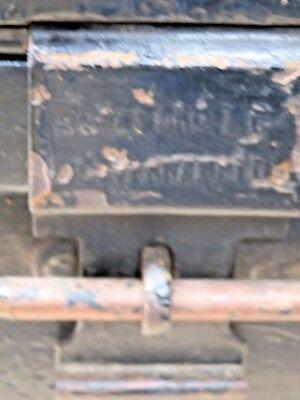 JONES BROS & CO TRAVEL steamer METAL TRUNK  Wood strips rolling wheel Label 1900