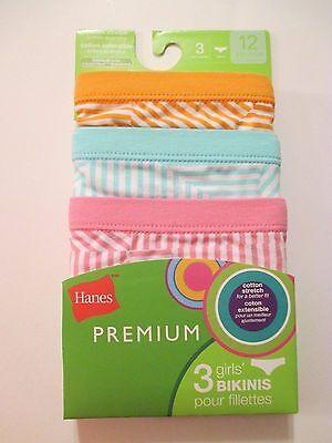NWT Girls HANES PREMIUM Size 12 Striped Bikinis Underwear Panties~3 Pairs 2