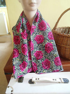 1 NEW Colourful Mixed Fibre Ladies Scarf PINK+BLACK FLORAL ~ Gift Idea #37 2