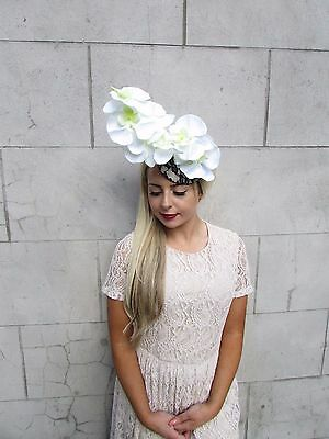 Navy Blue White Cream Orchid Flower Fascinator Hat Hair Clip Races Wedding 3803 2