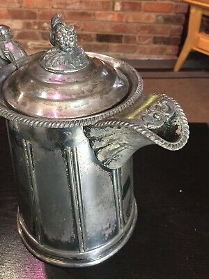 Antique 1858 Meriden Britannia Victorian Silverplated Double Wall Pitcher 4