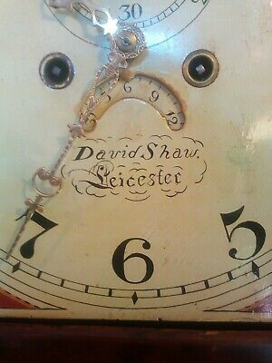 Antique grandfather clock, D Shaw of Leicester, strikes on a bell, painted face 5