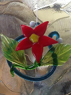 Poinsettia - Flame-worked Glass Flower Suncatcher or Small Paperweight/Ornament 3