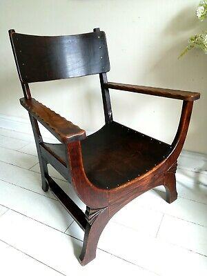 Rare Antique Arts & Crafts Oak Chair Liberty Style X frame bentwood Unique. 3