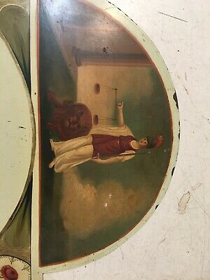 Beautiful Antique Grandfather Clock Dial Hand Painted Lady Of Justice W/ Lion 2