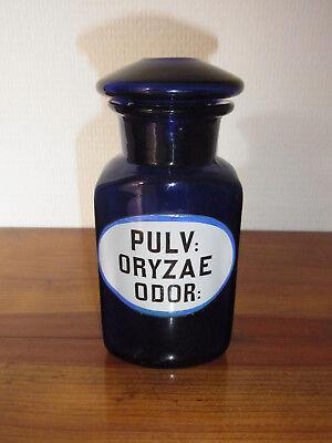 Seltene Apothekenflasche PULV: ORYZAE ODOR 19.Jh. Kobaltblau. 6