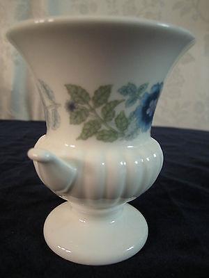 Wedgwood Clementine Bone China Small Urn Vase Blue Flowers England