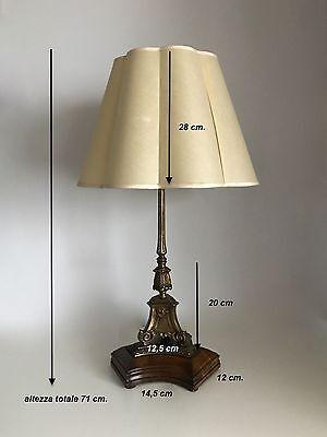 Lampada Vintage Da Tavolo In Ottone Con Paralume In Stoffa Eur 240 00 Picclick It