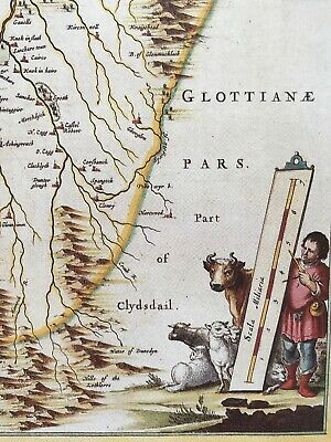 Historic Antique vintage Old Map: Nithsdale, River Nith,  Scotland 1600s REPRINT 6