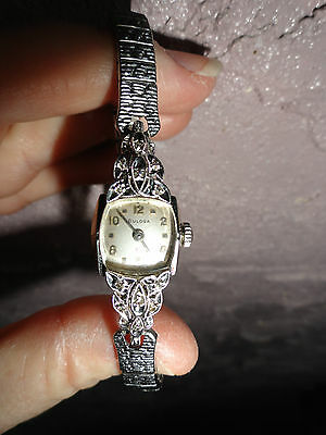 ART DECO 14K WHITE GOLD BULOVA 17 JEWEL WRIST WATCH WITH .15CT TW DIAMONDS 30's