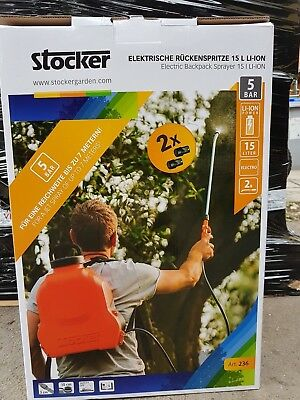 STOCKER POMPA IRRORATRICE A ZAINO 15 LT ELETTRICA n. 2 BATTERIE LITIO 5 BAR