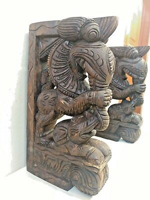 Wall Wooden Bracket Corbel Pair Temple Yalli Dragon Statue Sculpture Home Decor 2