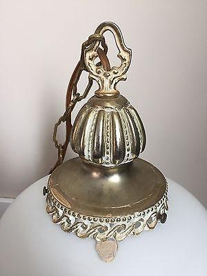 Vintage Frosted Glass VV France Hanging Lamp Light Gold Leaf Bronze Retro Decor 4
