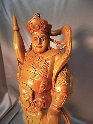 Very Fine Hardwood Detailed Old Chinese Carved Warrior Figurine Statue 2