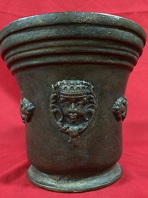 Huge Rare Antique European Bronze Mortar & Pestle Royal Aristrocatic Vase? King 7