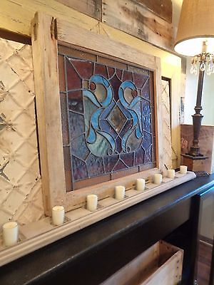Antique Leaded Stained Slag Glass Window Shabby Wood Frame Cottage Chic ESTATE! 2