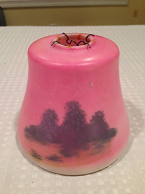 Antique Early 20th Century PINK HAND-PAINTED MilkGlass Lighting Lamp Shade Globe 2