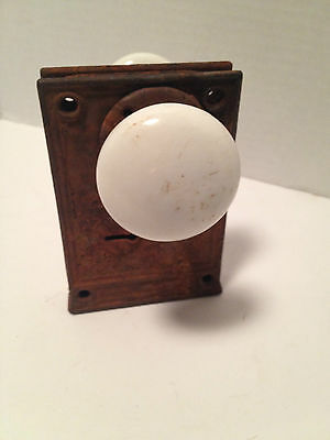 Three Porcelain Door Knobs W/ Lock (No Key) 1 Single & 2  W/lock 4