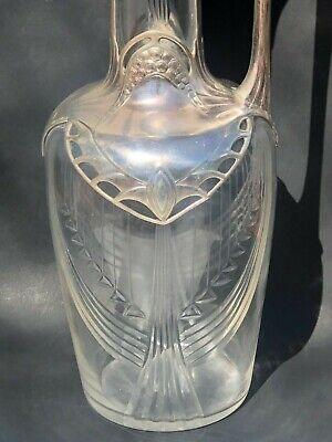 WMF Silver Plate Crystal Pitcher Jug Signed Antique Jugendstil Art Nouveau Deco 8