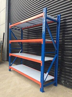 New 2M Garage Warehouse Steel Storage Shelving Shelves Racking Racks Blue 3