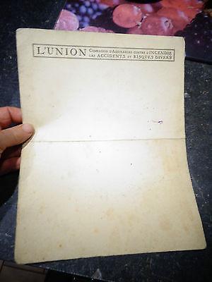 Ancien Grand Buvard L'Union Compagnie d'Assurance