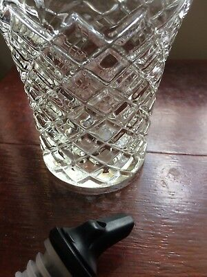 Contemporary Glass Liqueur Bottle with Pourer, Diamond Cut
