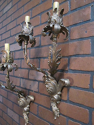 "Vintage Antique French Wall Sconces Bronze Floral 2 Lights 19 1/2"" Tall Stunning 2"