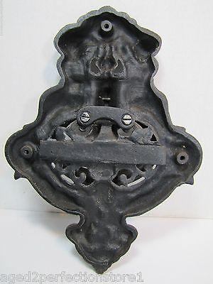 Vintage Cast Iron Figural Door Knocker Letters Mail Slot lrg ornate art nouveau 12