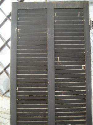 "SOLID - circa 1890 VICTORIAN shutter screen door w louvers 77.5"" x 30"" x 1.25"" 7"