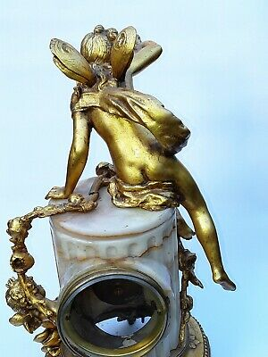 Antique French Onyx Marble Mantel Clock With Cherubs Gilt Bronze 8 Day 19Th C 11