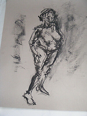 Figure life drawing nude expressive, charcoal / paper, woman standing, A1 size @ 7