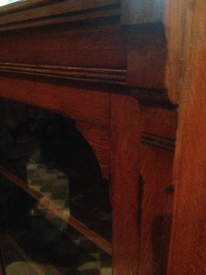 fine quality large antique gothic light golden oak victorian book case 5