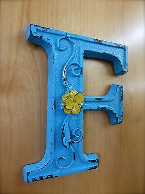 "BLUE CAST IRON WALL LETTER ""F"" 6.5"" TALL rustic vintage decor sign child nursery 2"