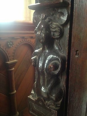 17th Century Carved Oak Library Bookcase Flemish Lion Head Pussy Oak Angels Pray 8