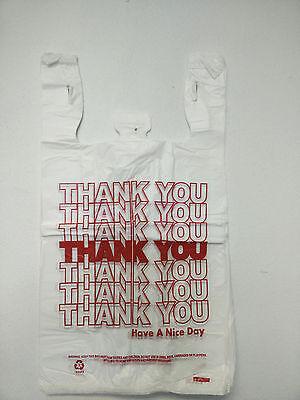 "THANK YOU T-Shirt Bags 11.5"" x 6"" x 21"" White Plastic Shopping bag 50 - 1000 2"