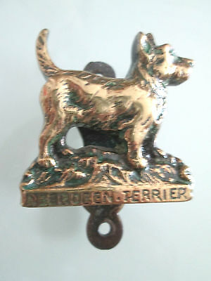 Minature old Brass dog Aberdeen Terrier door knocker 2