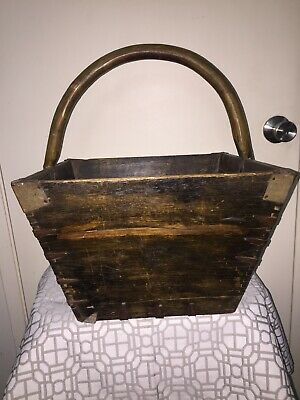 Antique Wooden Asian Rice Measure Basket With Dovetail & Wrought Iron Brackets 3