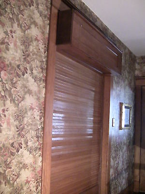 Victorian Antique Oak Wood Tambour Door Partition Overhead Roll Up Parlor Entry 2