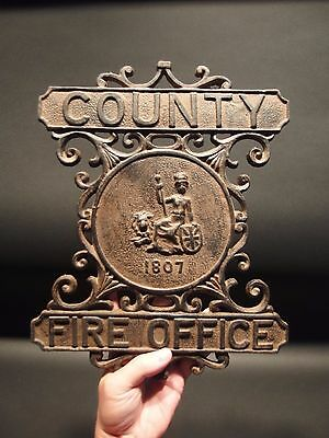 Antique Vintage Style Heavy Cast Iron County Fire Office Sign 1807 Fireman 6