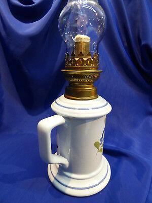 Lampe A Petrole En Faïence De Desvres, Complete. Ref 4772
