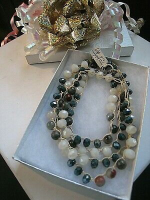 Old Soul Jewelry  Necklace Long  Earthy Agate, Jasper Cream Teal Crystal  NWOT 6