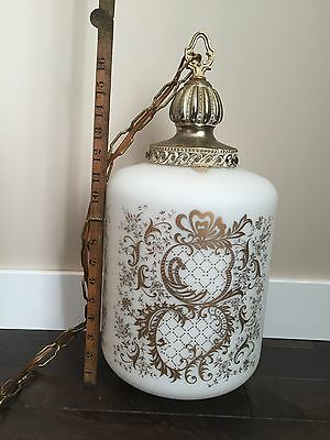 Vintage Frosted Glass VV France Hanging Lamp Light Gold Leaf Bronze Retro Decor 11