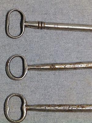 3 Antique Cast Iron Nickel Skeleton Jail House Door Gate Keys Key Vintage Old 5