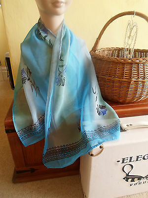 1 NEW Colourful Mixed Fibre Ladies Scarf SHADES OF BLUE ~ Gift Idea #36 2