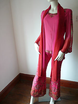 Asian Wedding Cerise Pink & Red Trouser Suit With Scarf   M   Ret £350   Bnwt 3