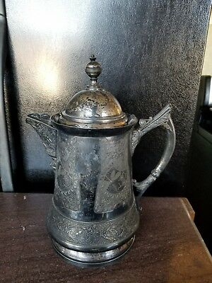 Engraved Ice Pitcher Antique late 1800's Derby Quadruple Silver Plate Victorian 2