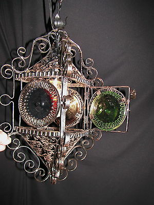 Vintage French / Spain Lantern Wrought Iron Glass Shades Fixture Chandelier 1920 11