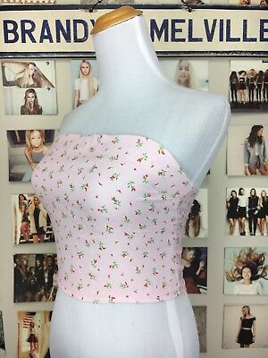 a39d284daba ... Brandy Melville pink Red floral ruffle smocked Back tube top Strapless NWT  XS S 5