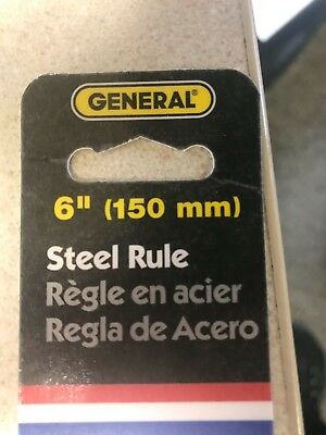 "General Tools #300/1 6"" Inch Stainless Steel Pocket Ruler w/ Depth Gauge, Scale 5"