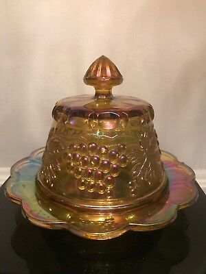 FAB! NORTHWOOD Marigold Grape & Cable Carnival Glass Butter Dish Signed 2